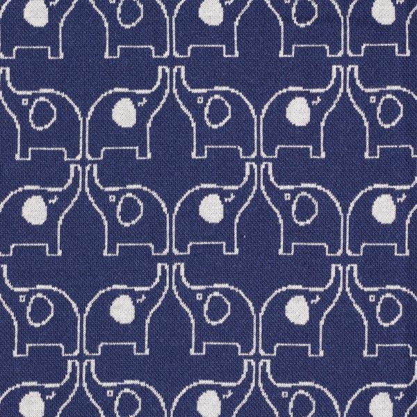Marineblauer Baumwollstoff Strickjacquard mit weißen Elefanten