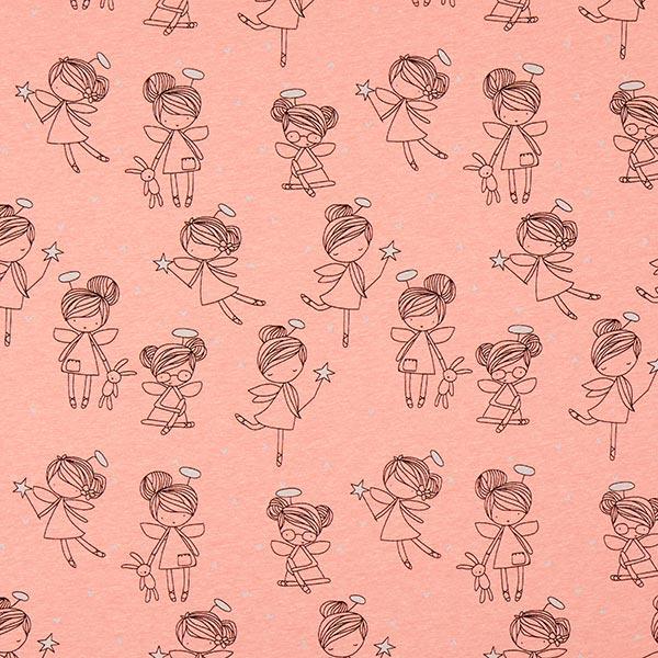 Lachsfarbener Kuschel-Sweatshirtstoff mit bezaubernden Ballerinas