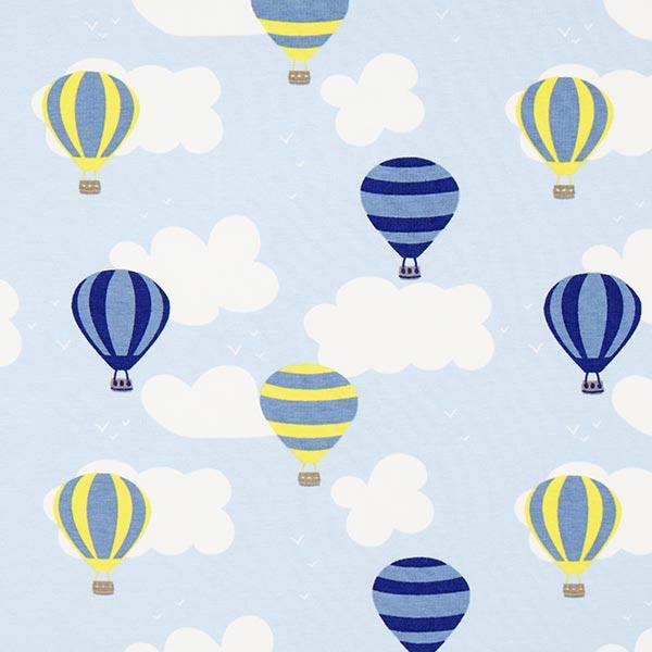 Jerseystoff Heißluftballon – hellblau - Stoffreste- stoffe.de