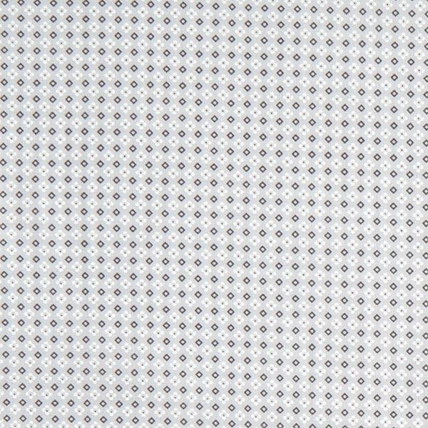 Blümchen & Karos auf grauem Baumwolljersey Popeline