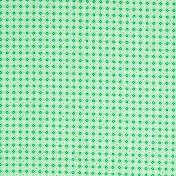 Blümchen & Karos auf grünem Baumwolljersey Popeline