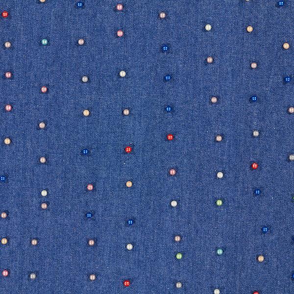 Blaue Jeans mit bunten Perlen