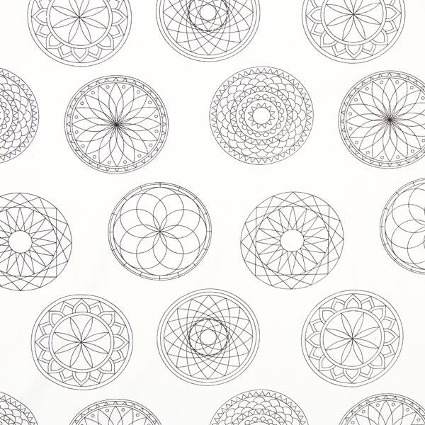 Tessuto Da Colorare Popeline Mandala Bianco Popeline Tessuticom
