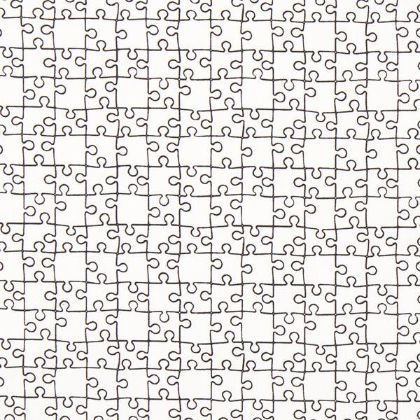 Weißer Ausmalstoff Popeline 'Puzzle'