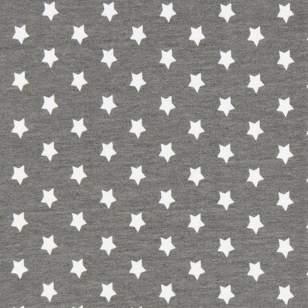 Baumwolljersey kleine Sterne - grau