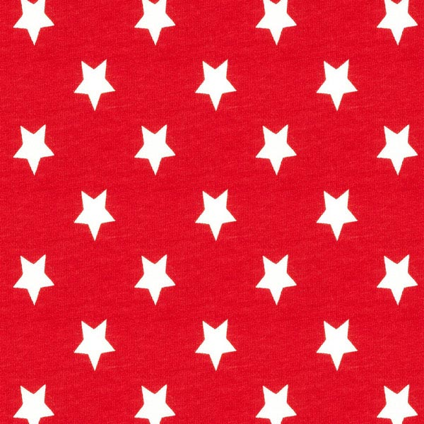 Baumwolljersey große Sterne - karminrot
