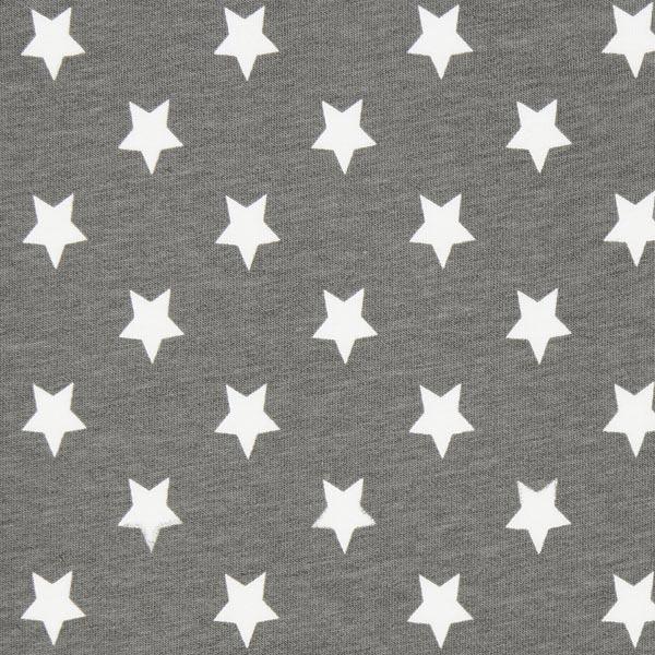 Baumwolljersey große Sterne - grau