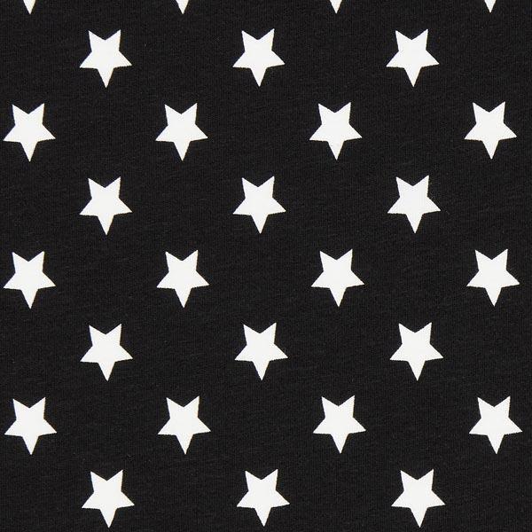 Baumwolljersey große Sterne - schwarz