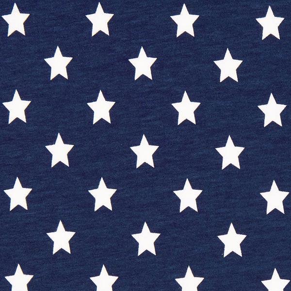 Baumwolljersey große Sterne - marineblau