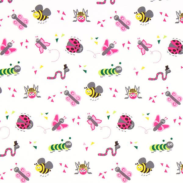 Tula Insectos Bio Jersey GOTS – blanco - Algodón biológico- telas.es