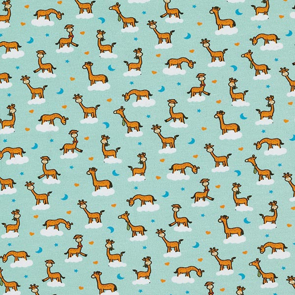 Mintgrüner Baumwolljersey mit niedlichen Giraffen auf Wolke 7