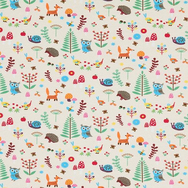 Fröhliche Waldtiere auf beigefarbenem Baumwolljersey