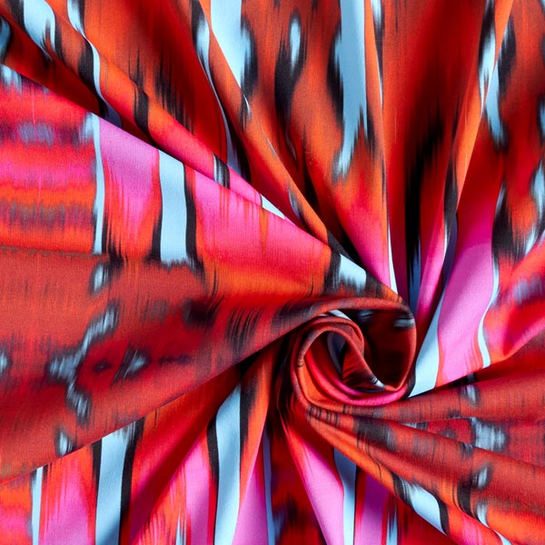 Tessuto costumi da bagno strisce ikat azzurro arancio rossastro tessuti per bikini costumi - Tessuto costumi da bagno ...