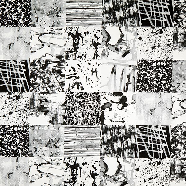 Tela decorativa Otomana Mezcla de patrones – negro - Panamá lisa ...