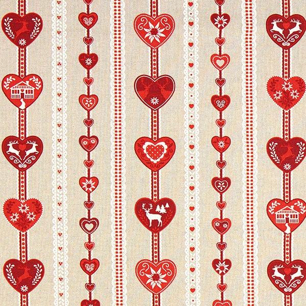 Weihnachtsstoff rotes Herzmuster – beige – Muster