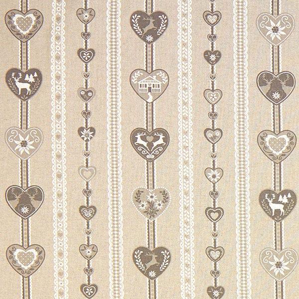 Weihnachtsstoff graues Herzmuster – beige – Muster