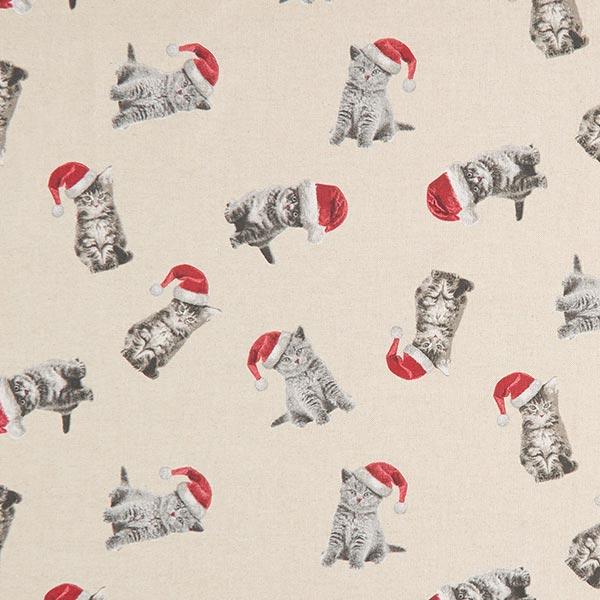 Tela decorativa Panama media gato de la Navidad – naturaleza - Telas ...