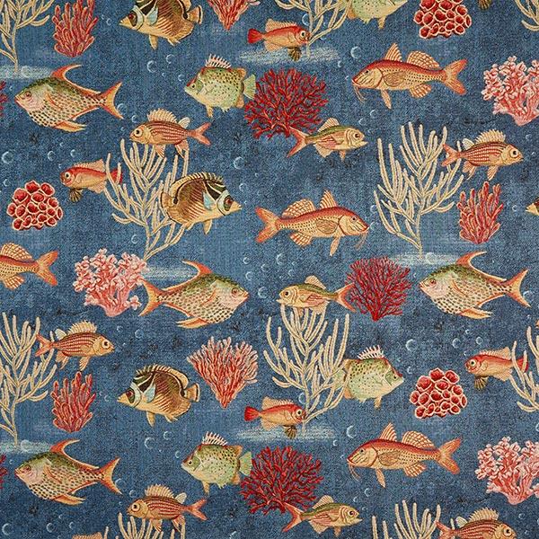 Žakárový gobelín ryby – modrá - Gobelínové látky- latka.cz 50b02f61643