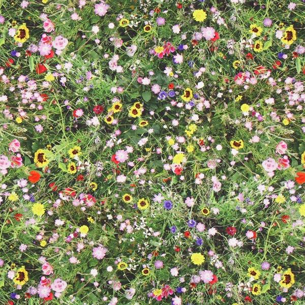 half panama wilde bloemen – groen - panama- stoffen