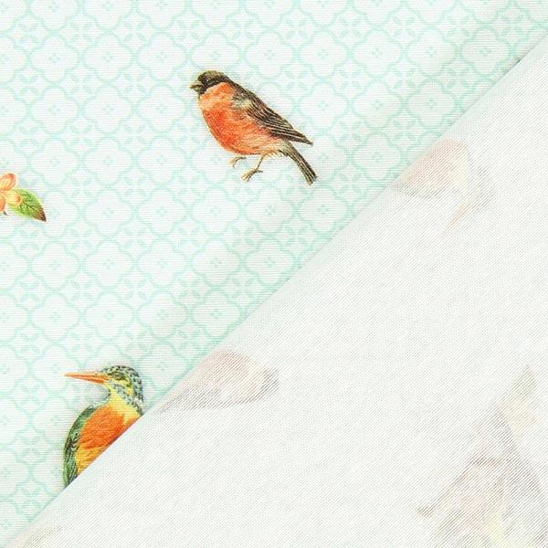 Cretonne uccellini e ornamenti verde menta tessuti per for Cretonne per arredamento e tappezzerie