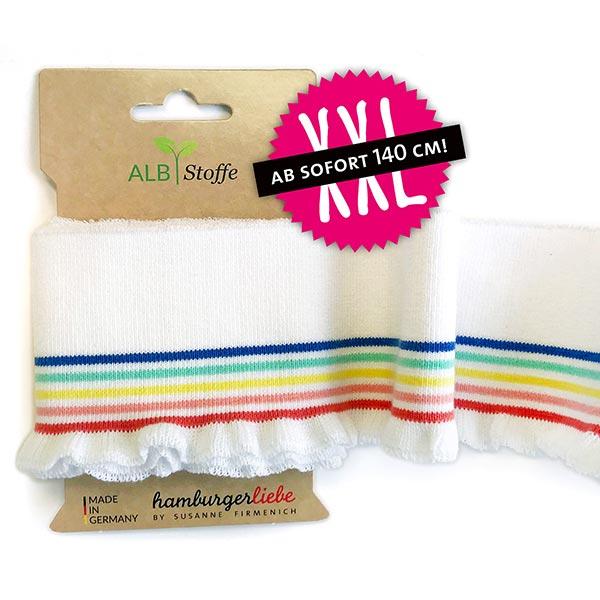 Weißes Strickbündchen 'Cuff Me' mit bunten Streifen aus Bio-Baumwolle