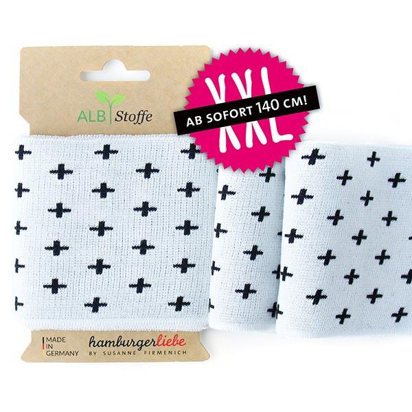 Weißes Strickbündchen 'Cuff Me' aus Bio-Baumwolle mit Kreuzen