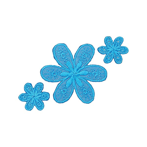 Applikation Blumen – blau