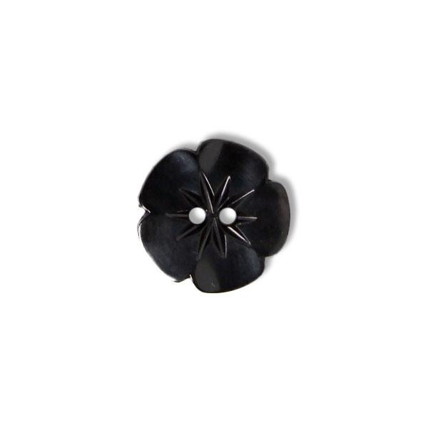 Schwarzer Blümchenknopf