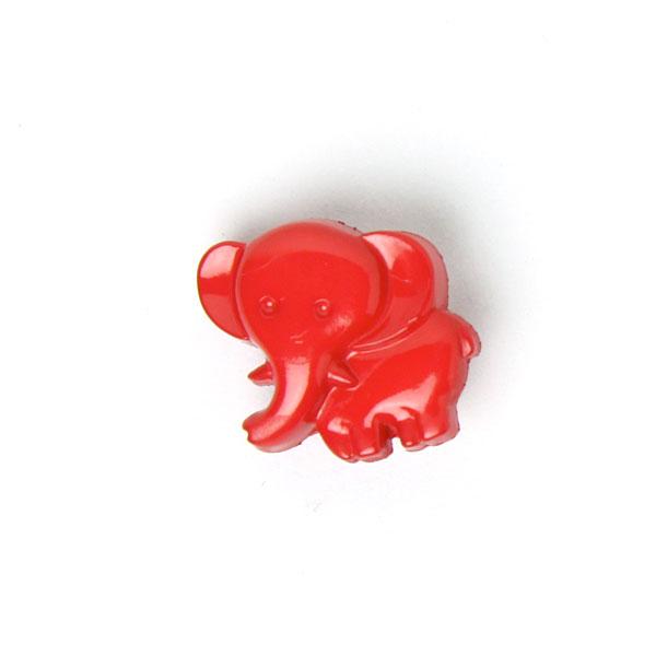 Signalroter Elefant als Kinderknopf