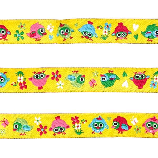 bande tiss e oiseaux 2 tante ema rubans pour enfants motif animaux. Black Bedroom Furniture Sets. Home Design Ideas