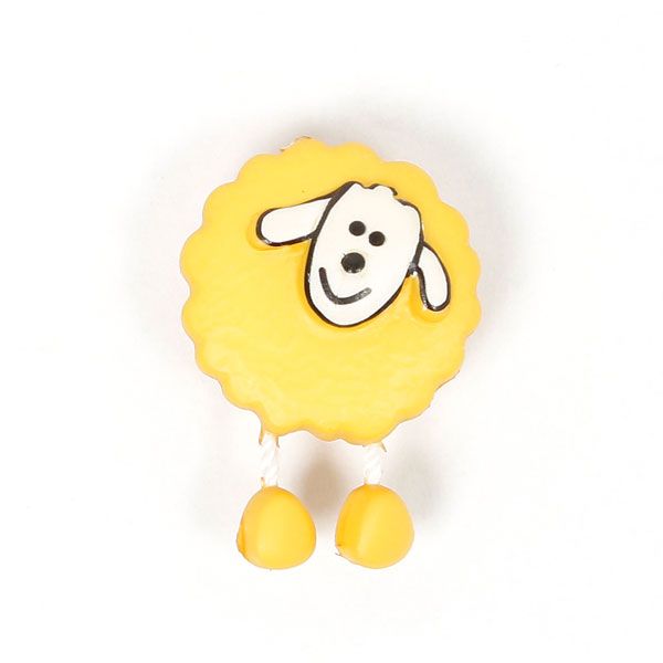 Gelber Kunststoffknopf als Schaf mit Hängebeinchen