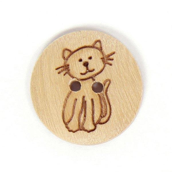 2-Loch-Holzknopf mit geprägtem Katzenmotiv