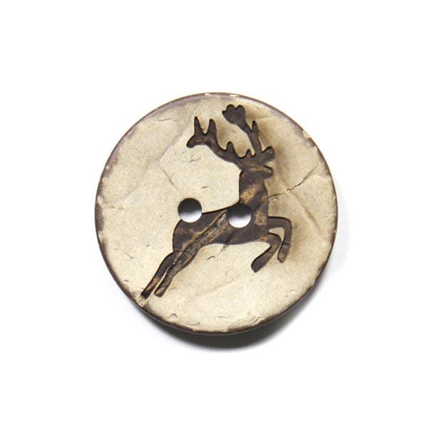 2-Lochknopf mit Hirschmotiv aus Kokosnuss