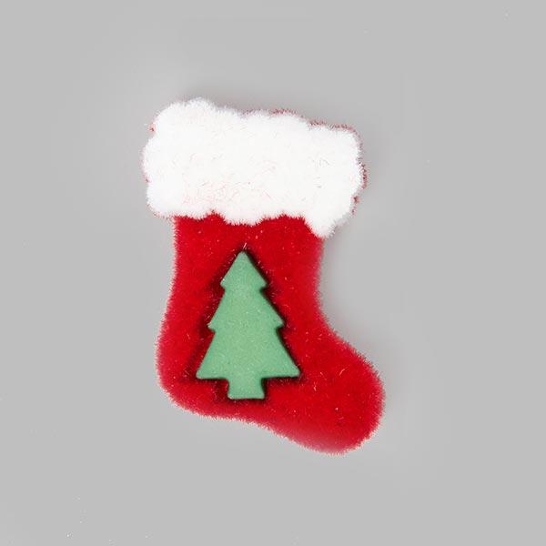 Weihnachtsknopf Nikolausstiefel - rot/grün