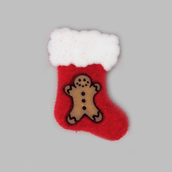 Weihnachtsknopf Nikolausstiefel - rot