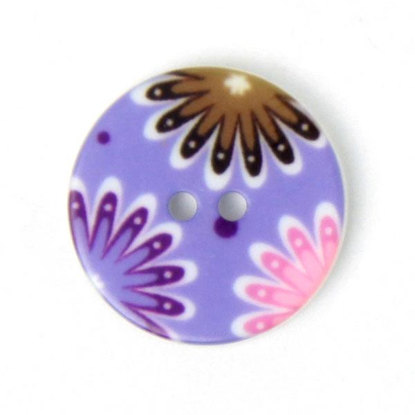 Kunststoffknopf in Flieder mit Blumen