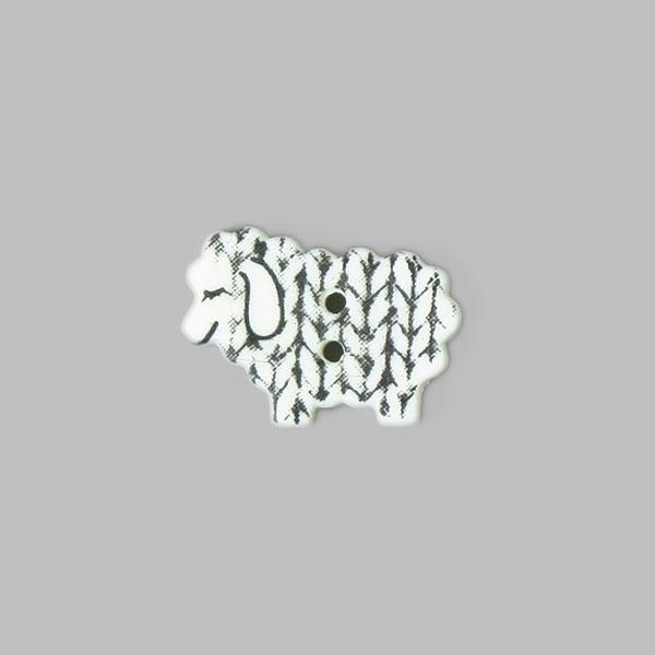 Weißer Kunststoffknopf 'Schäfchen'