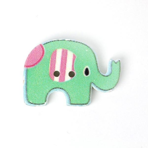 Apfelgrüner Holzknopf 'Elefant'