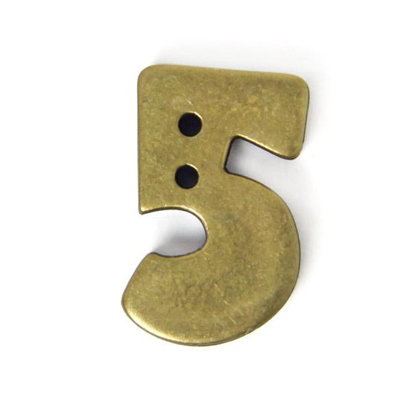 Zahlenknopf 5 - Metalloptik