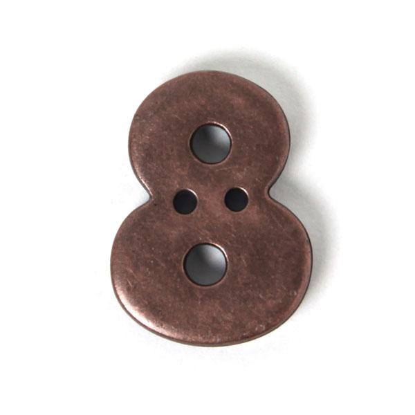 Zahlenknopf 8 - Metalloptik