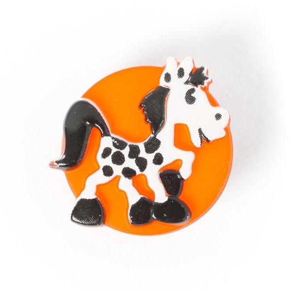 Kunststoffknopf mit Pferdchen in Orange