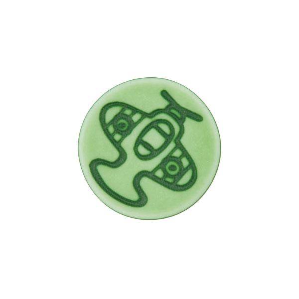 Ösenknopf Flugzeug – grün