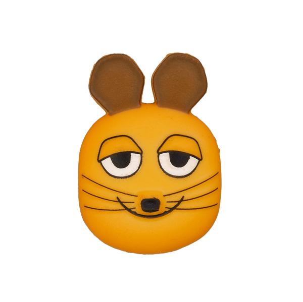 Orangefarbener Kunststoffknopf 'Die Sendung mit der Maus'