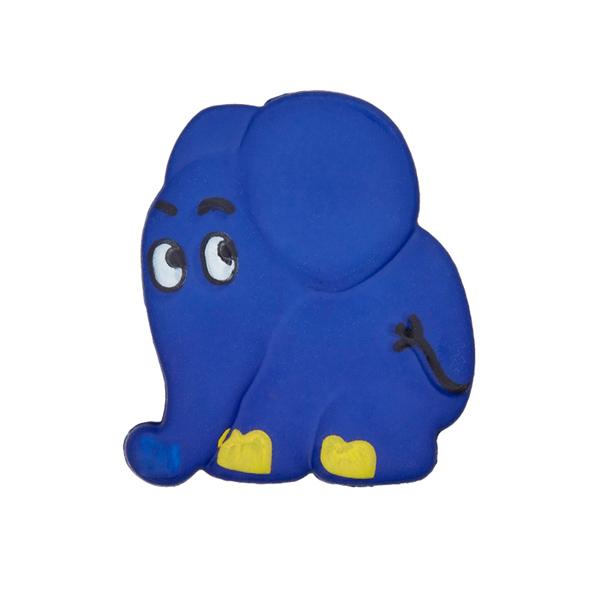 Kunststoffknopf Elefant - blau