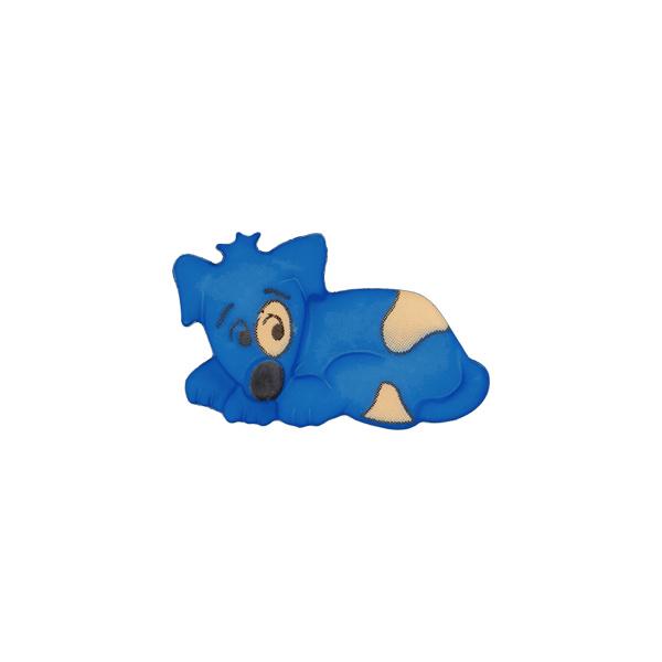 Königsblauer Kunststoffknopf 'Hund'
