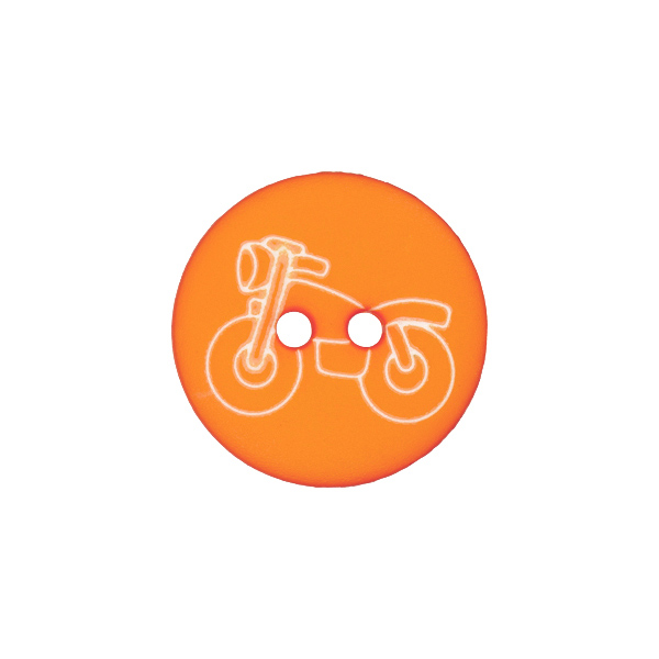 Orangefarbener Kunststoffknopf mit Motorradmotiv