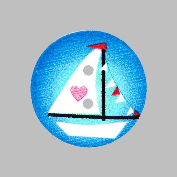 Holzknopf Maritim - blau