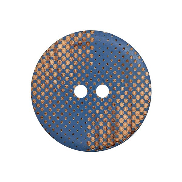 Holzknopf Punkte - blau