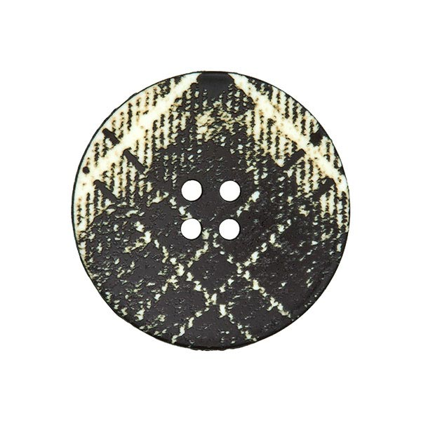 Mantelknopf Schottenkaro - schwarz