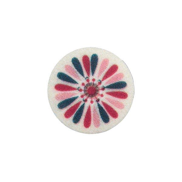 Wollweißer Kunststoffknopf mit buntem Muster